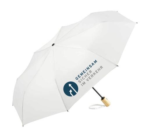 Regenschirm mit Verkehrslogo drauf