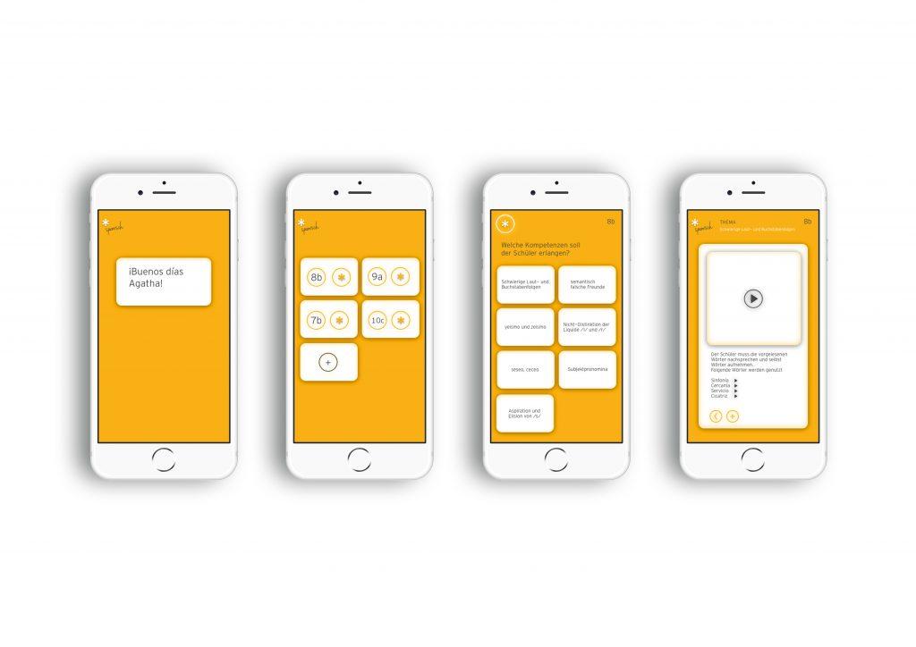 Screendesigns der Lehrkraft der App WID