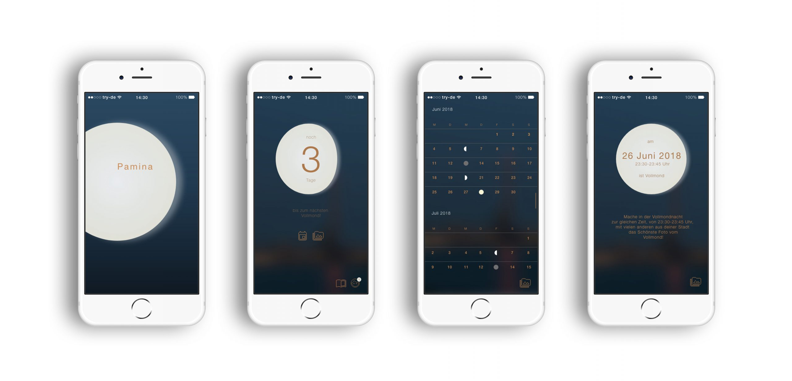Screendesigns der App Pamina